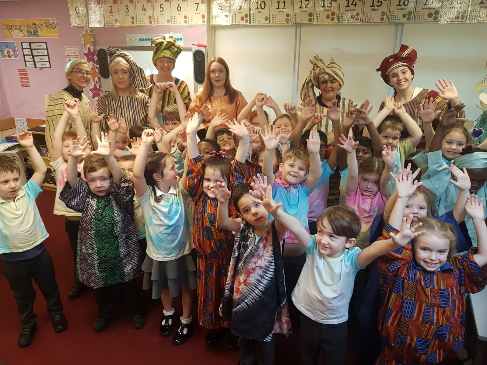 Osun Arts at St Cecilia Infants - staff with children