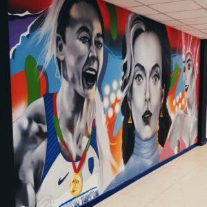 Mural of 3 women's face