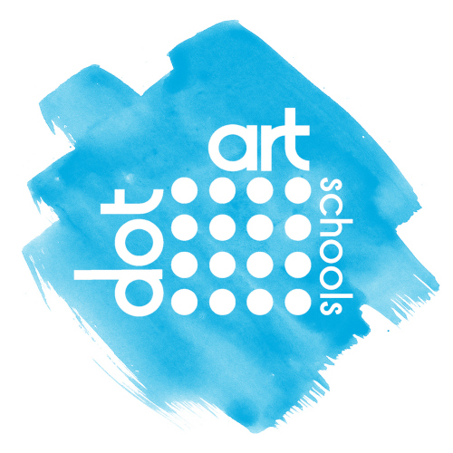 logo - light blue paint marks with white text 'dort art schools' around 16 small circles arranged in a rectangle